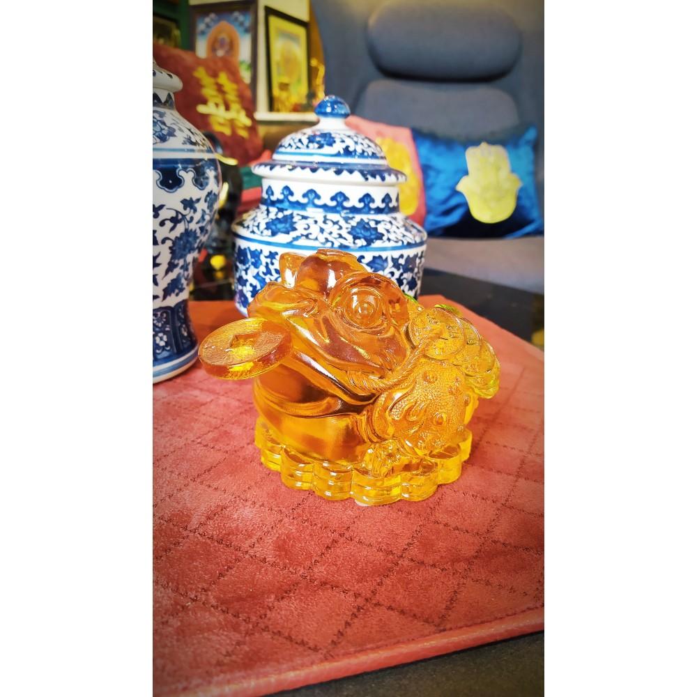 Статуэтка Трёхлапая жаба желтая (стекло)