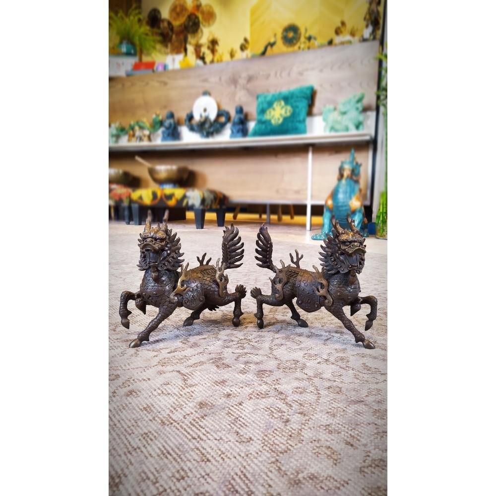 Статуэтка Пара Цилинь из бронзы