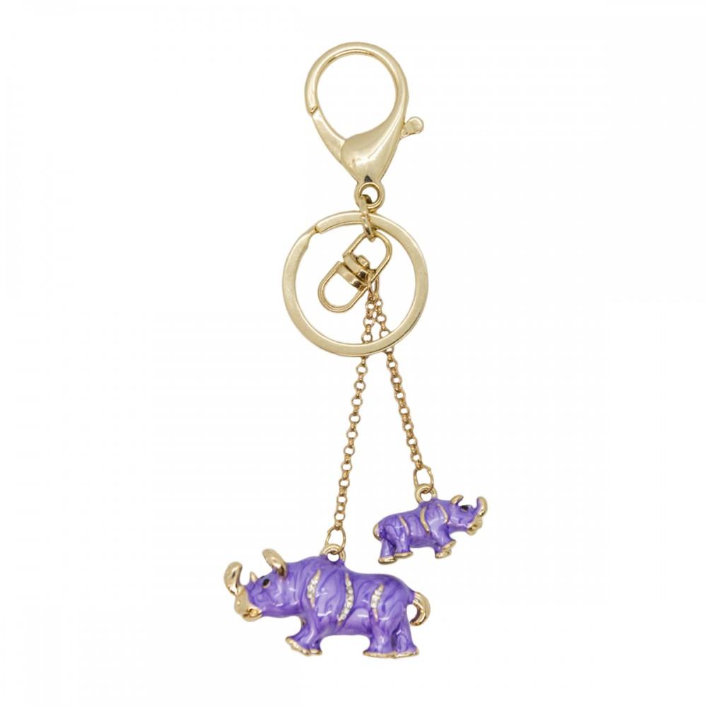 Брелок пара носорогов, фиолетовый