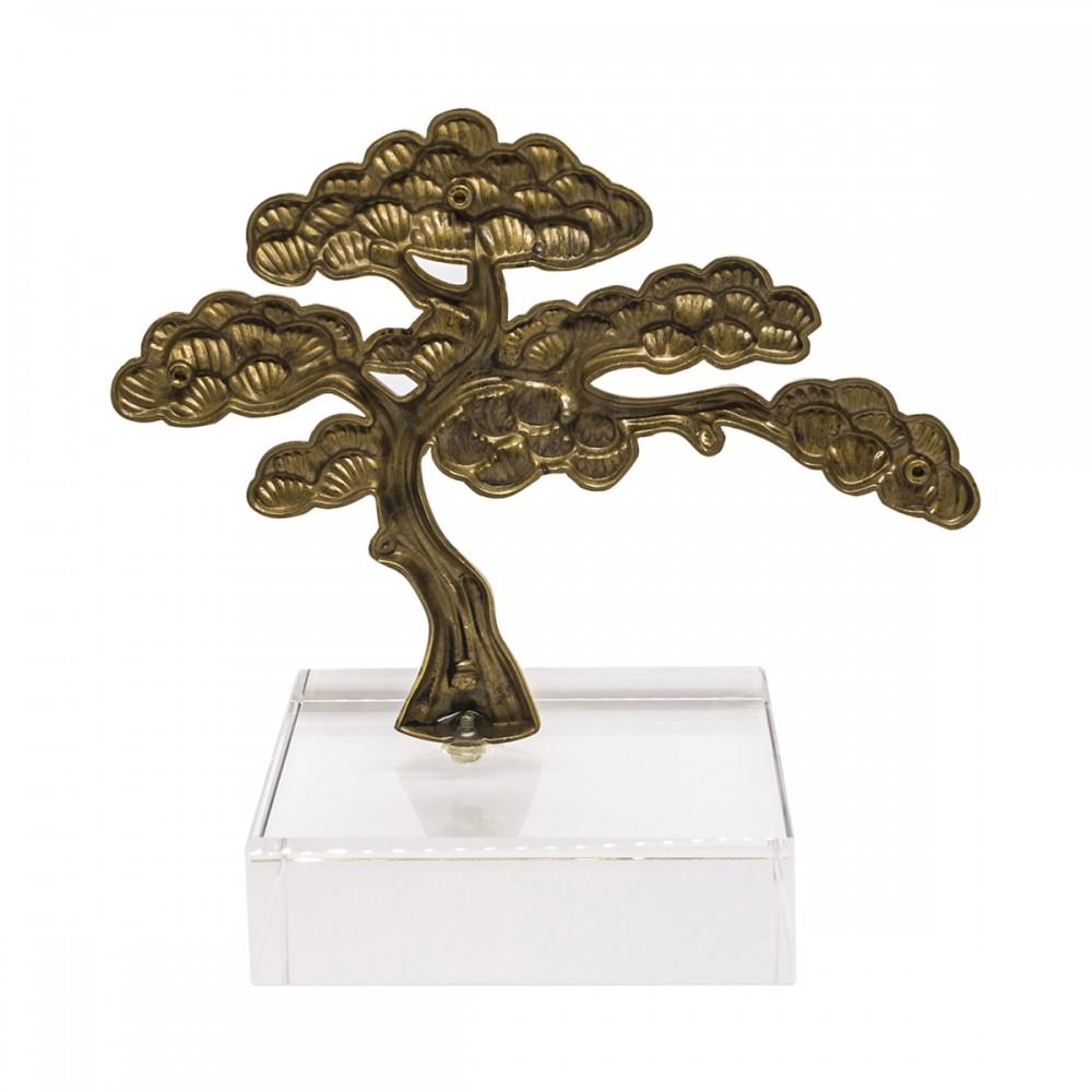 Статуэтка Дерево золотистая на прозрачной стеклянной подставке
