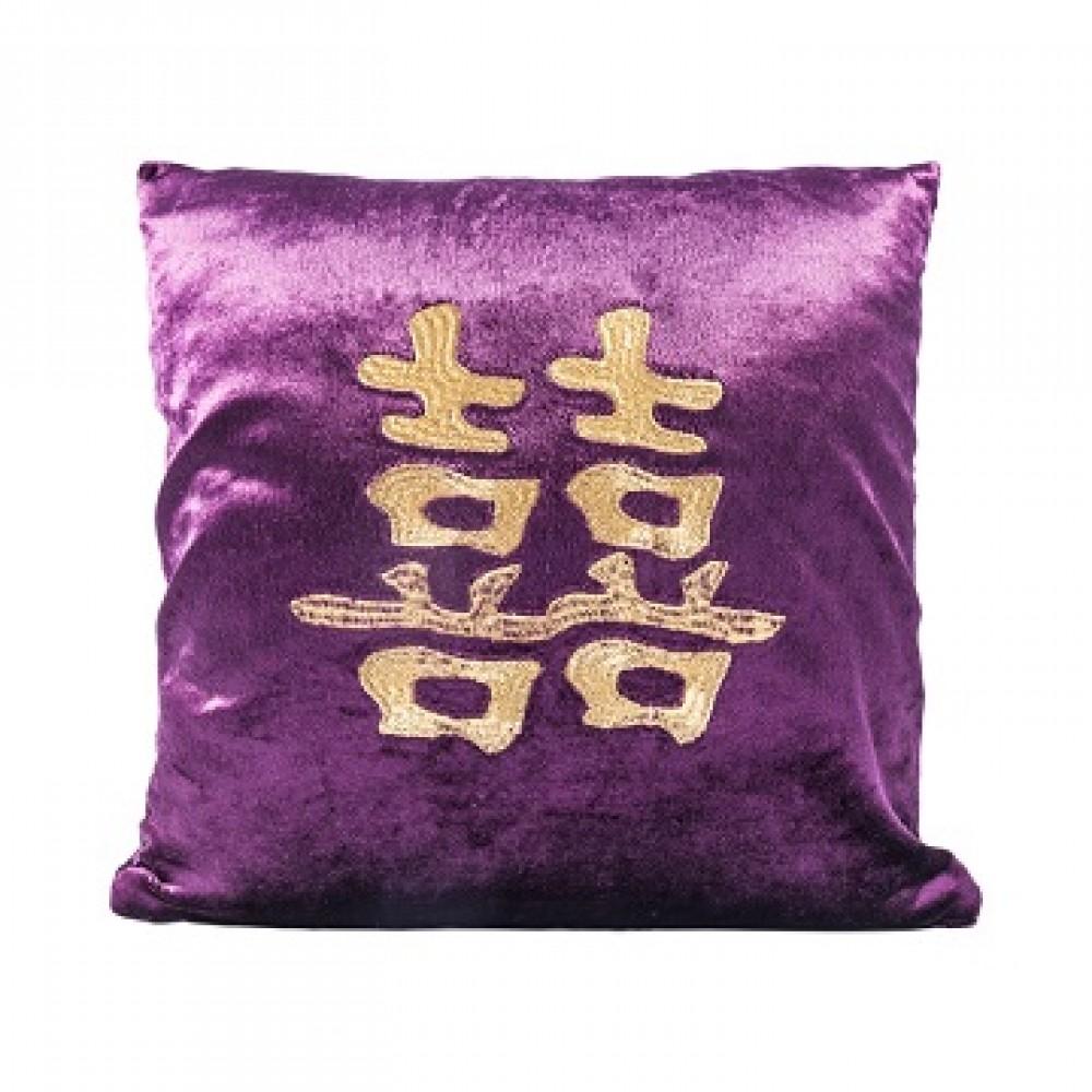 Подушка малиновая со знаком двойного счастья