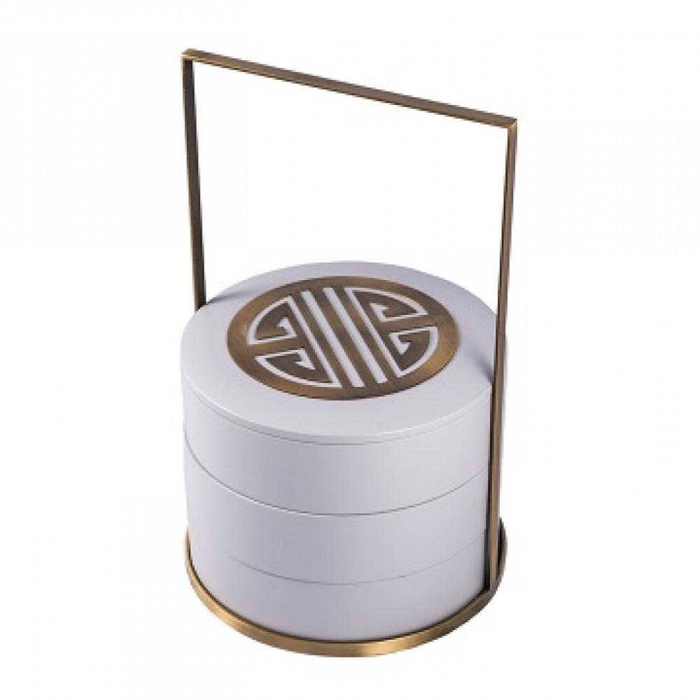 Шкатулка декоротивная круглая, серое