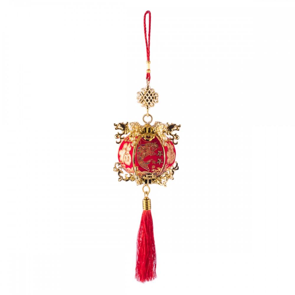 Подвеска фонарик красный с золотом средний
