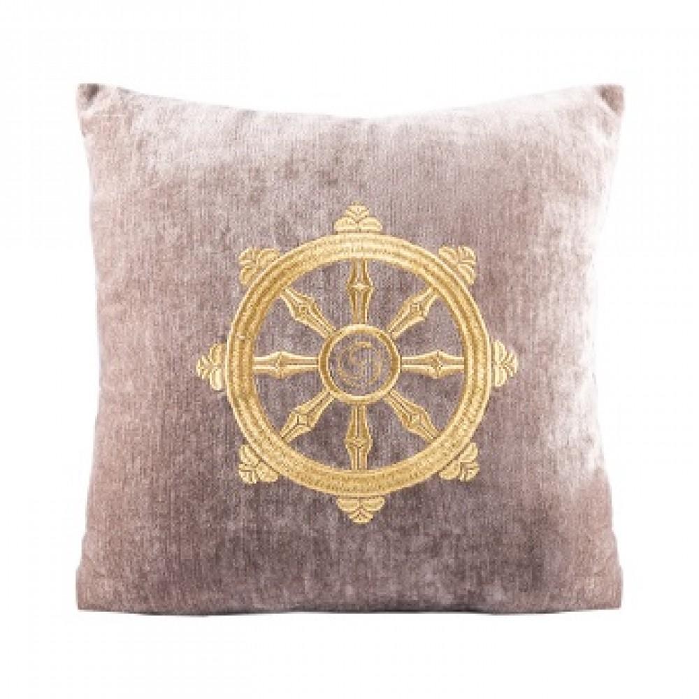 Подушка бежевый с колесом фортуны золото