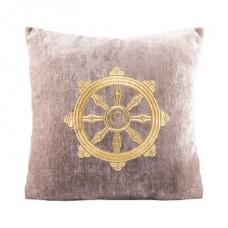 Подушка бежевая с колесом фортуны золото