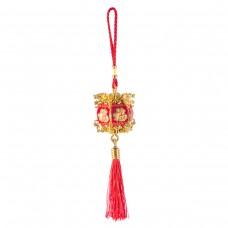 Подвеска фонарик красный с золотом маленький