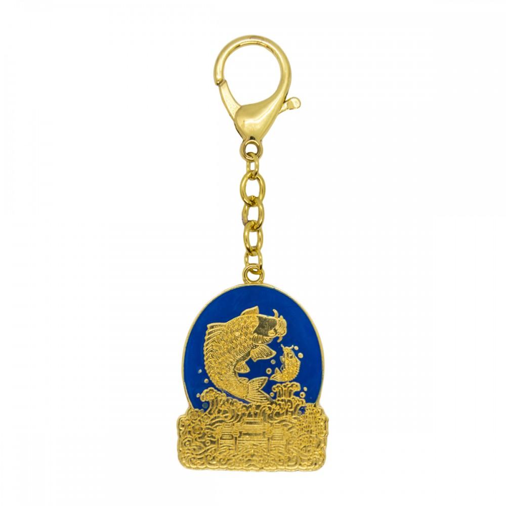Брелок Пара карпов золото, синий фон