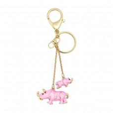 Брелок пара носорогов, розовый