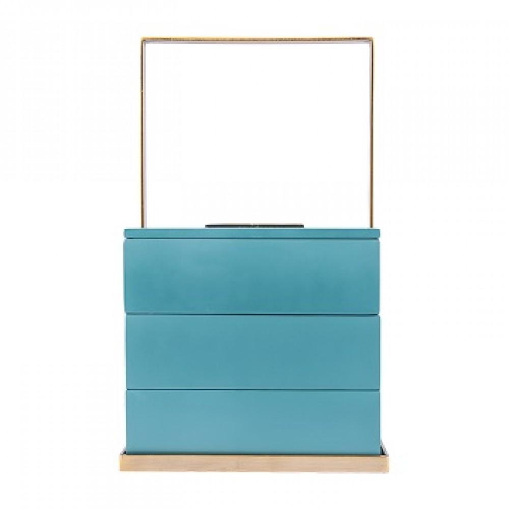 Шкатулка декоротивная квадратная, голубая