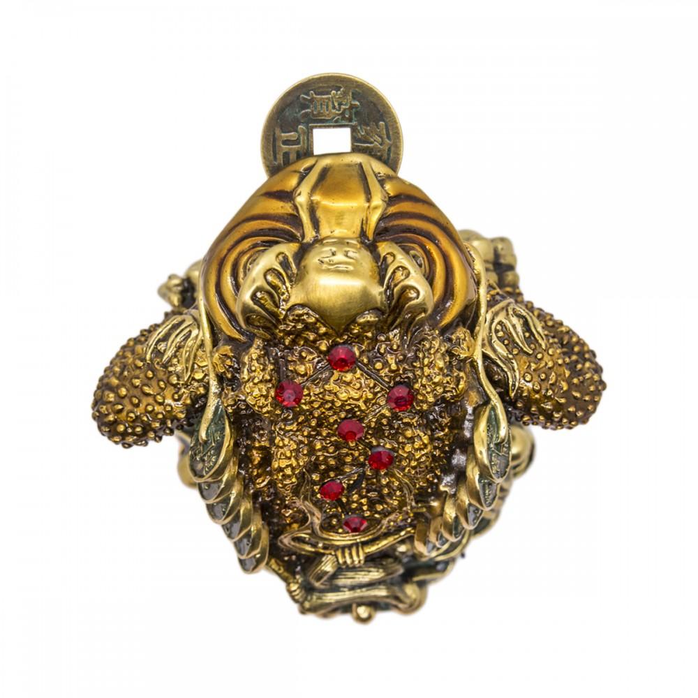 Статуэтка Трехлапая жаба бронза светло-коричневая, маленькая