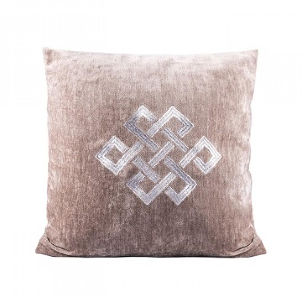 Подушка бежевая с мистическим узлом серебро