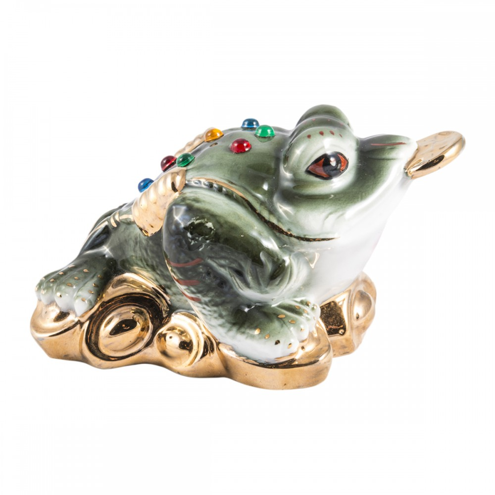 Статуэтка Денежная жаба зелёная фарфор