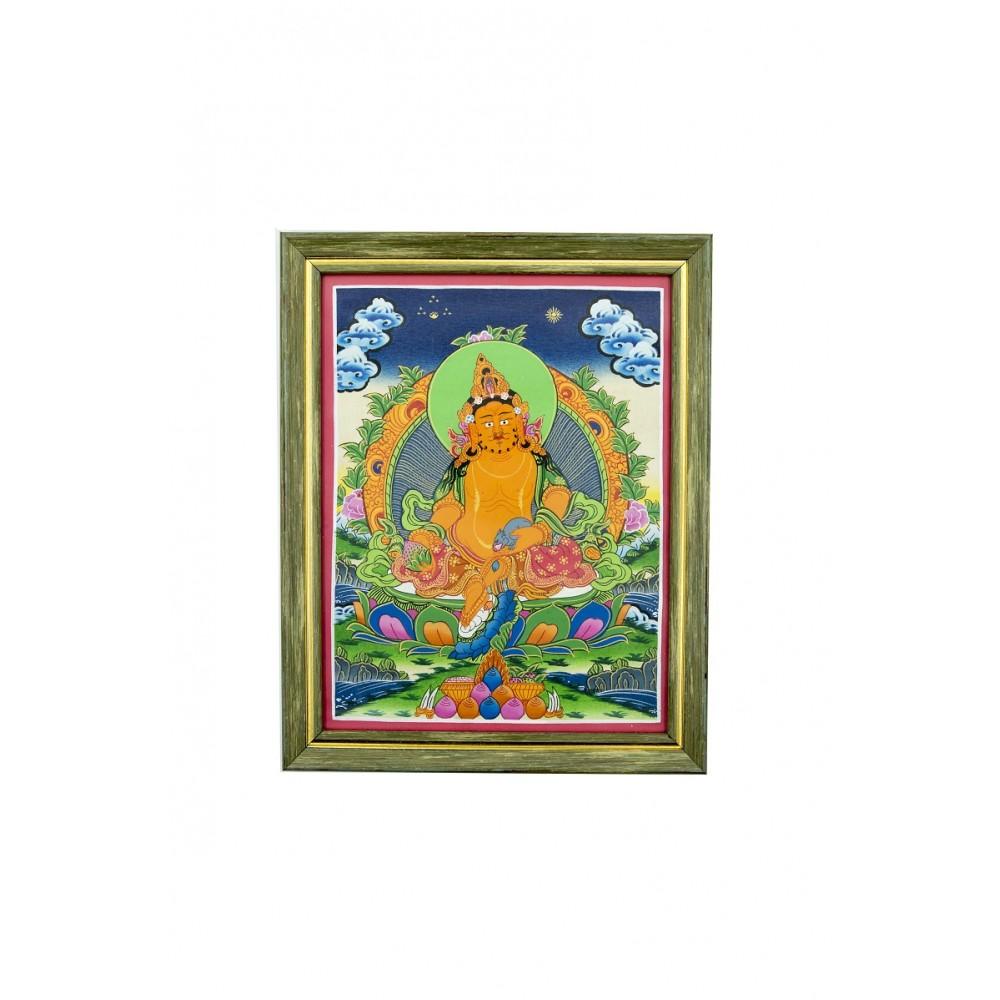 Картина Желтый Джамбала в зеленой рамке 30*24