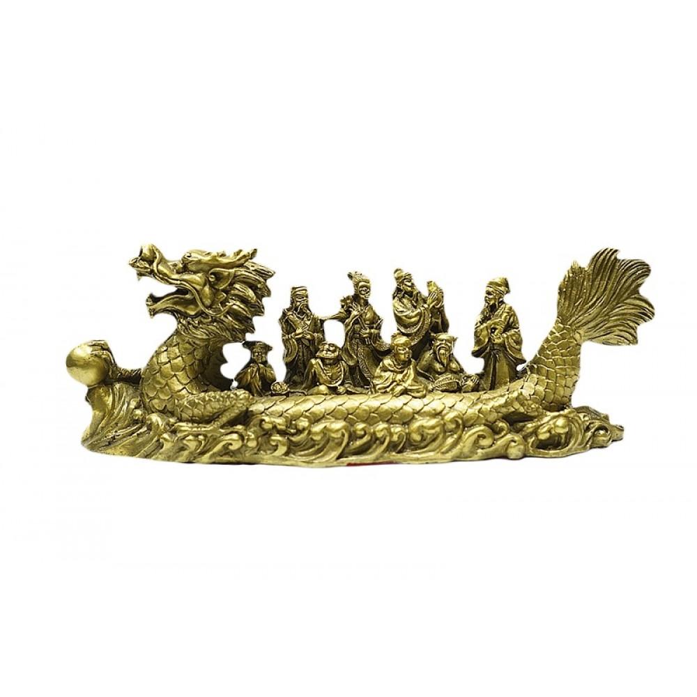 Статуэтка 8 бессмертных в лодке драконе бронза