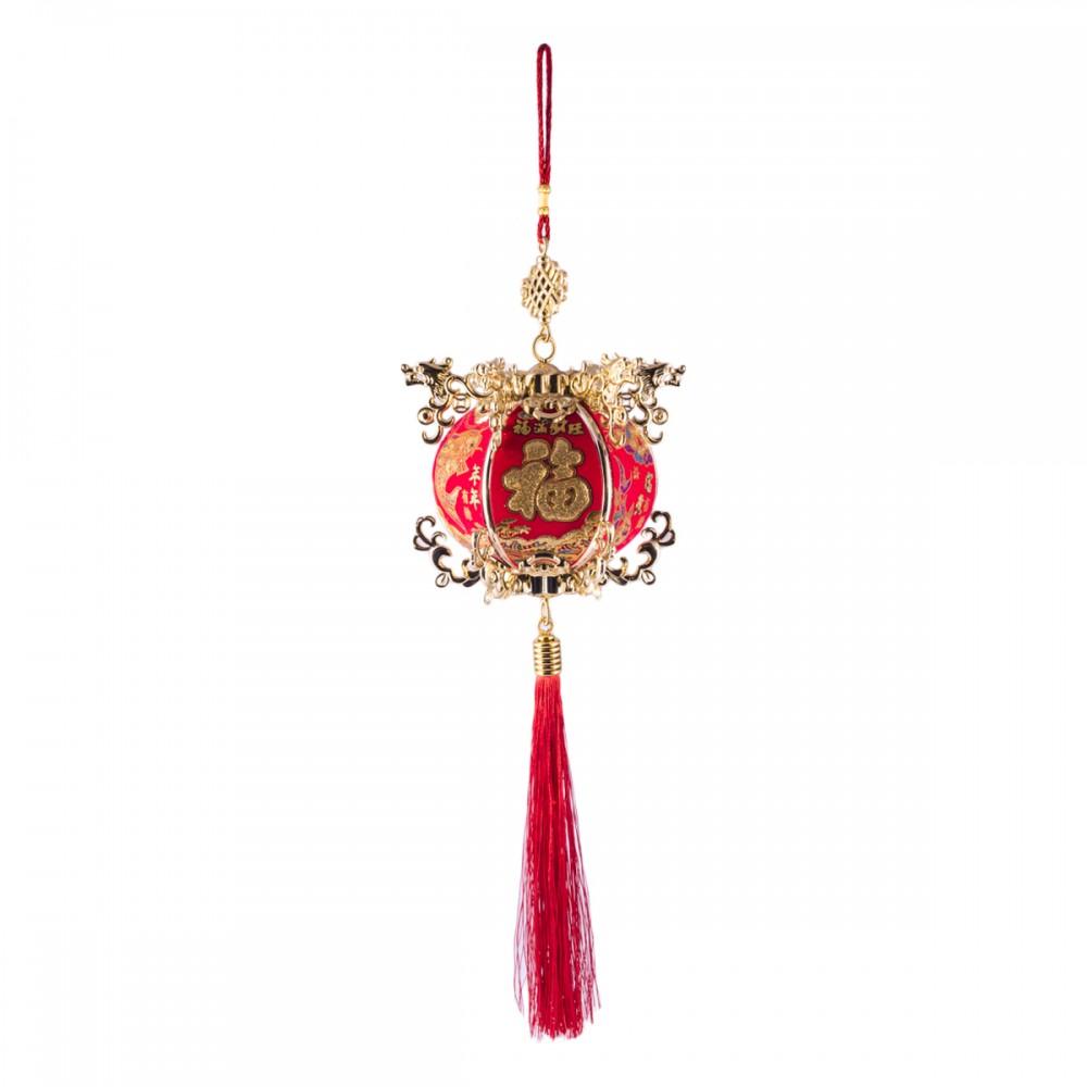 Подвеска фонарик красный с золотом большой
