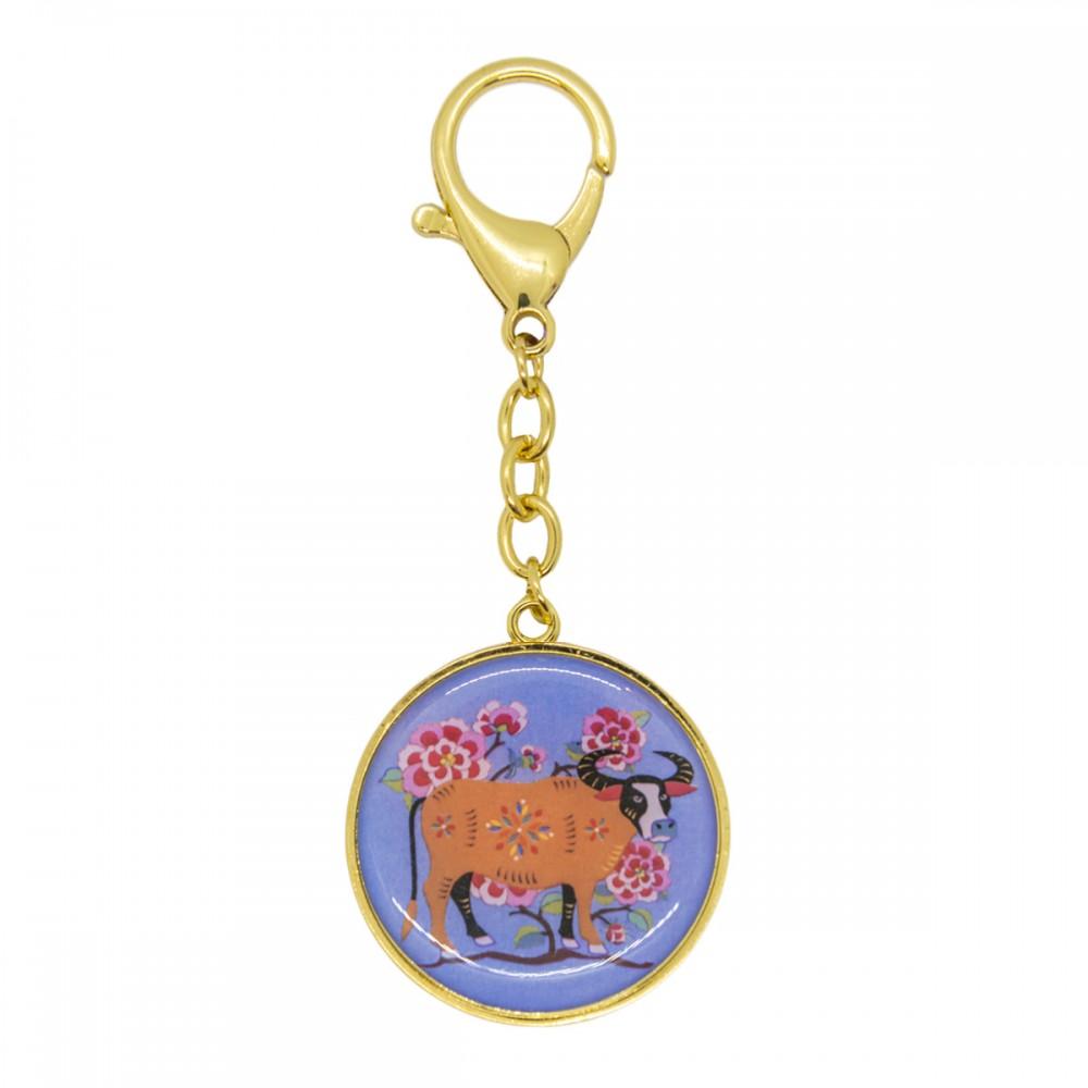 Брелок 12 животных с быком, зеркало