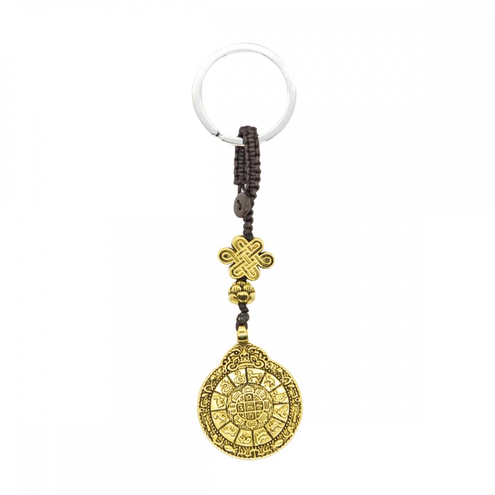 Брелок мистический узел, лотос, монета золотая
