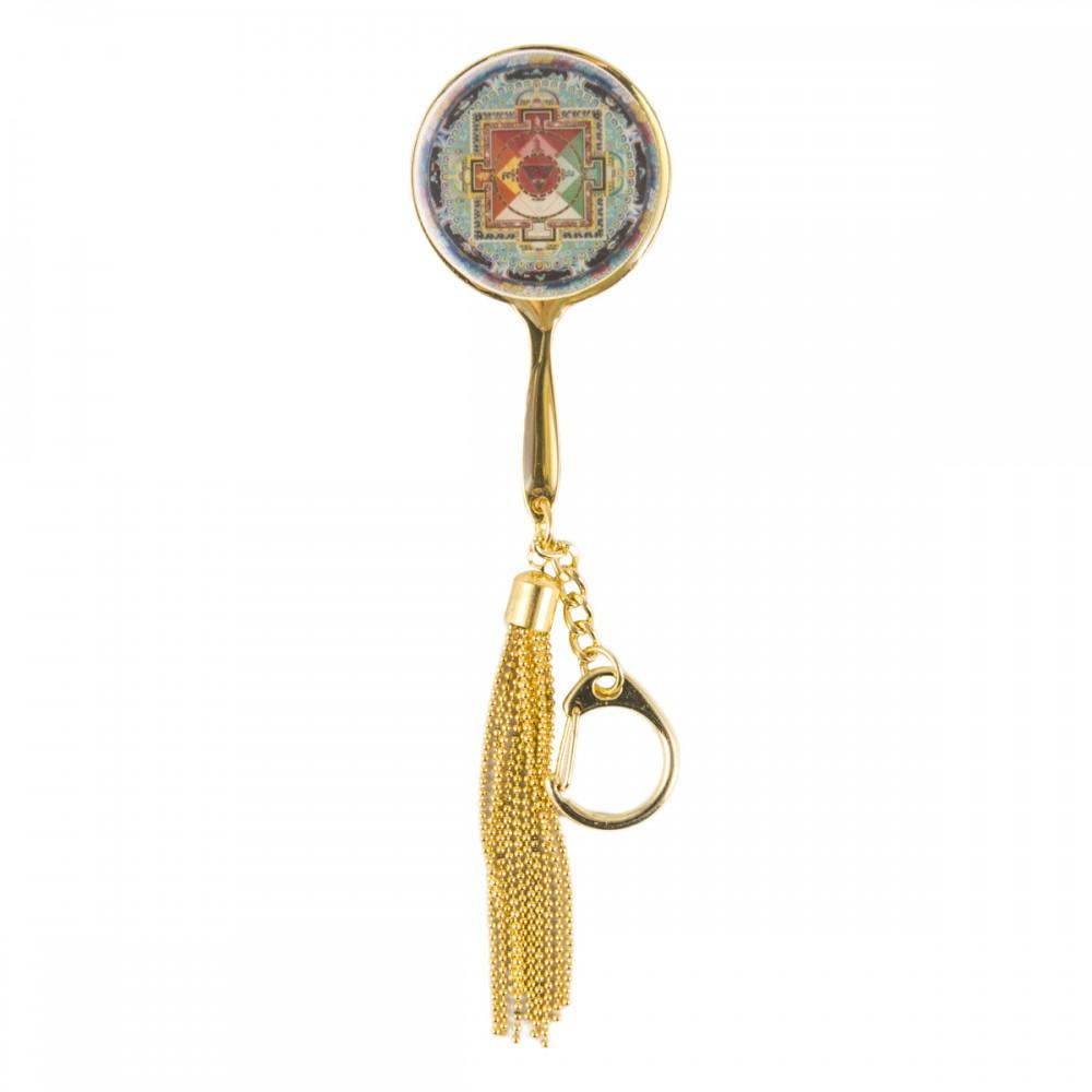 Брелок в виде зеркала с Калачакра синяя