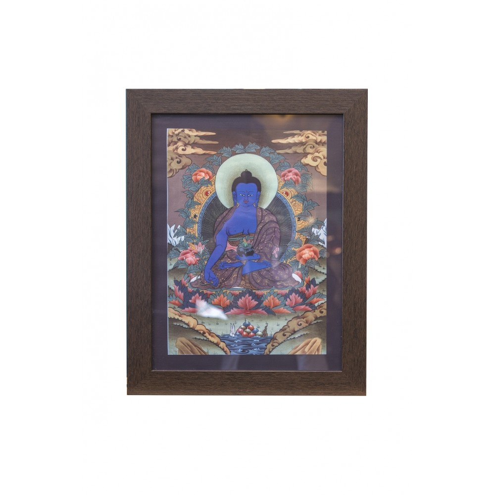 Картина Будда медицины на коричневом фоне