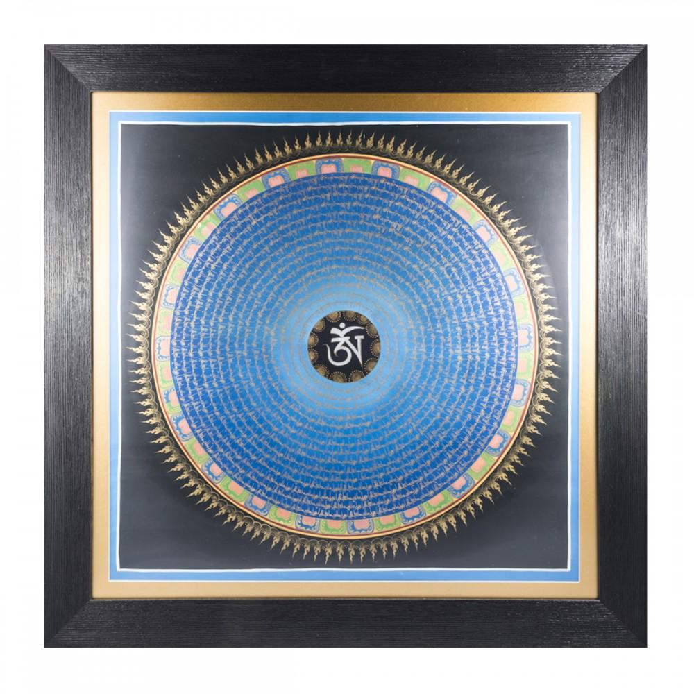 Картина Мандала со знаком Ом синяя