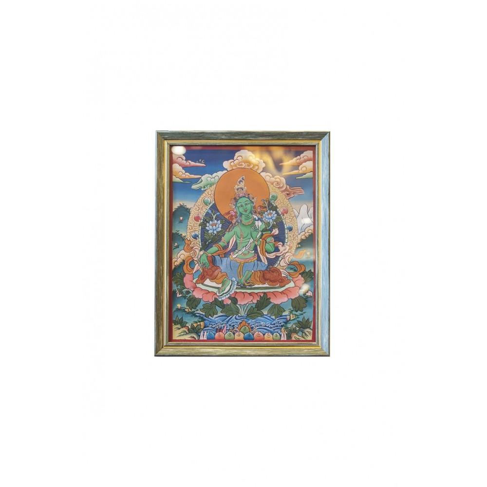 Картина Зеленая Тара в зеленой рамке, 35*27см