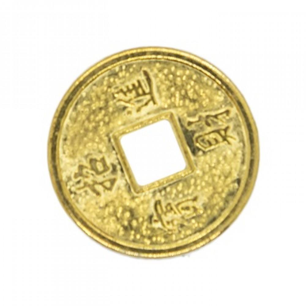 Монета с драконом и со знаком богатство золото, микро