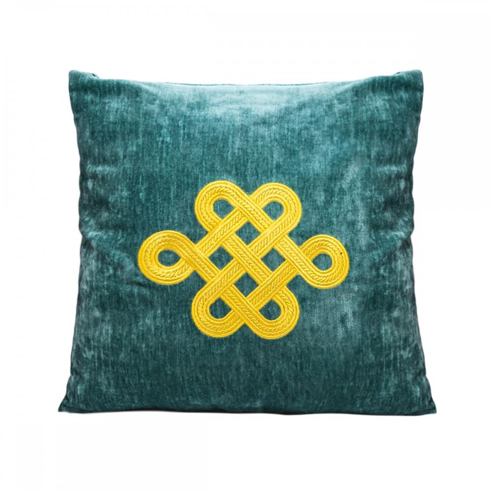 Подушка темно-зеленный с колесом фортуны золото