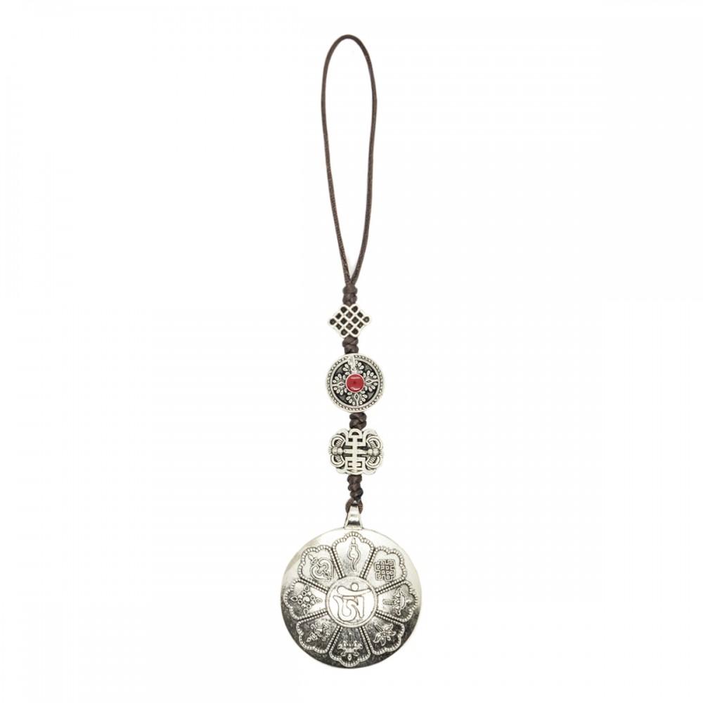 Подвеска с митическим узлом,дорджем, топрорик, 8 благотворных символов серебро
