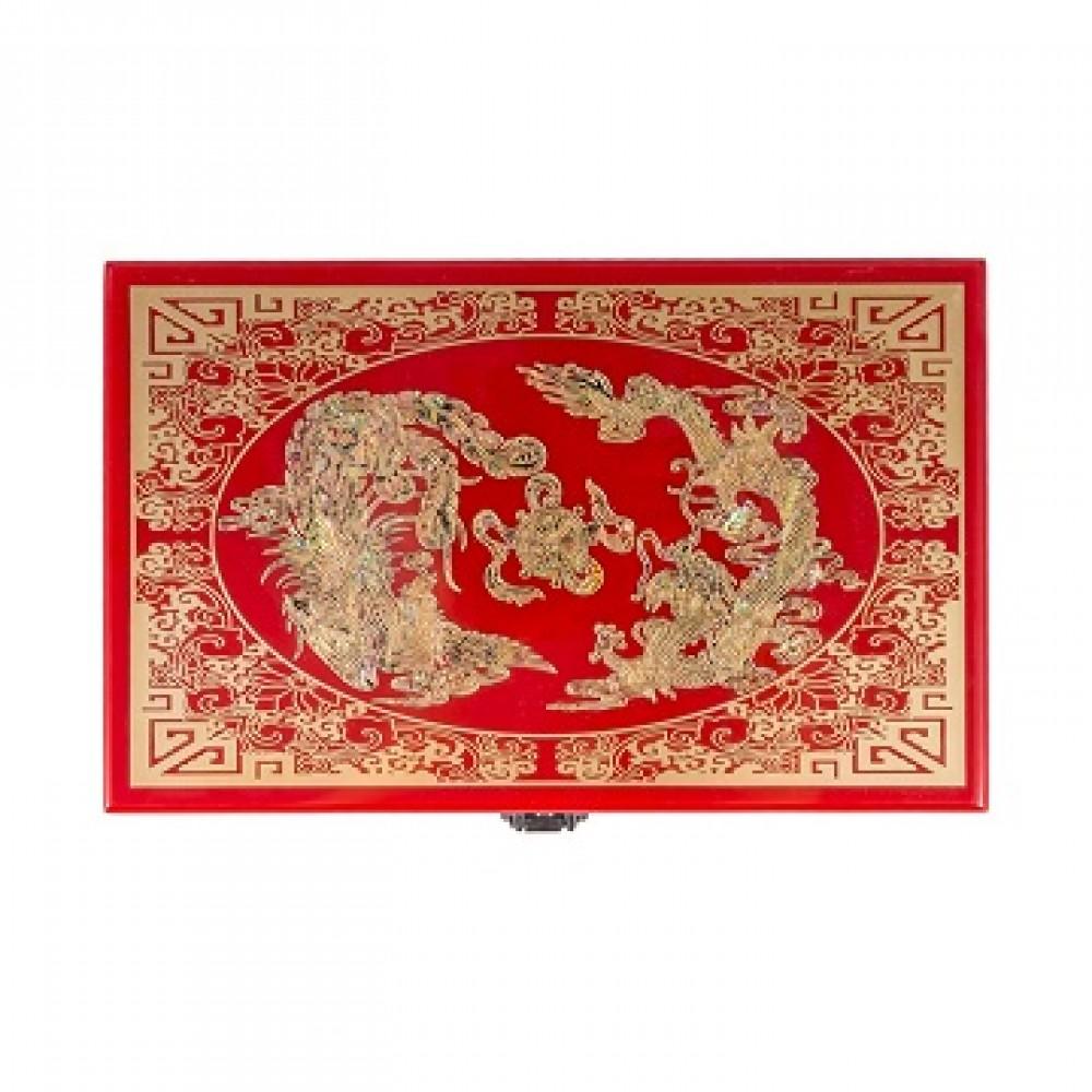 Шкатулка Дракон и феникс, красная
