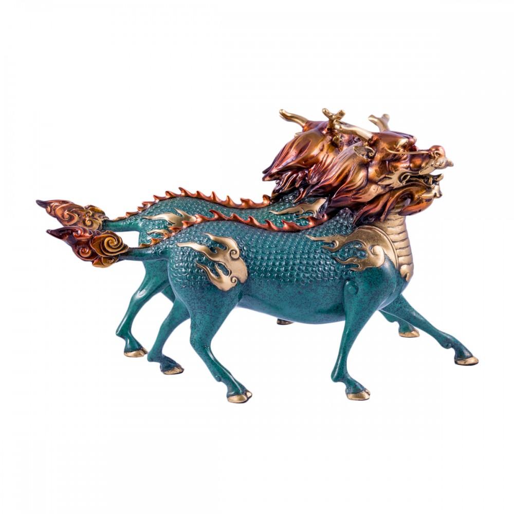 Статуэтка Цилини пара бронза, голубые