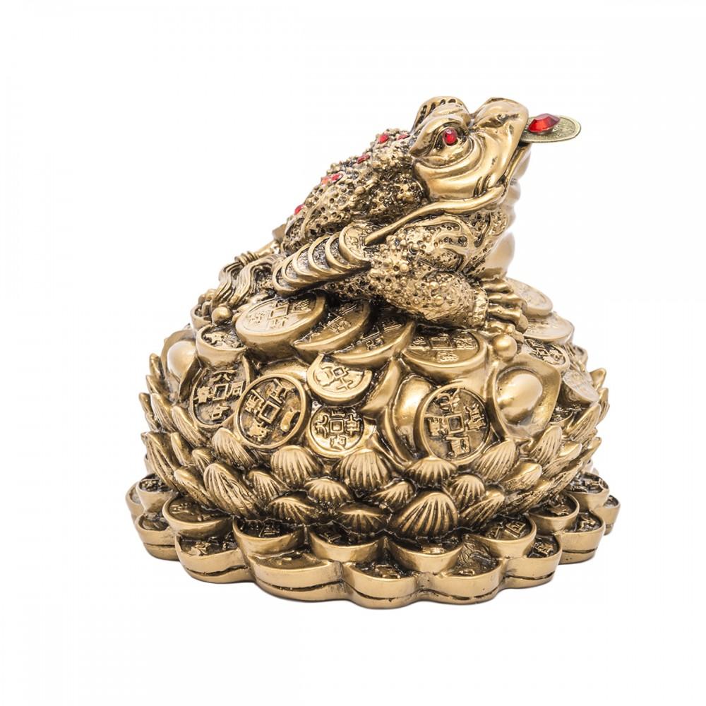 Статуэтка Жаба на монетах смола