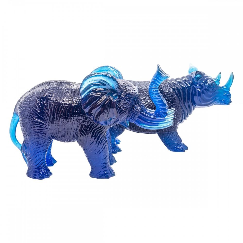 Статуэтка Слон с носорогом синяя, большая