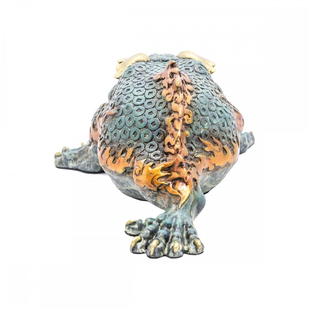 Статуэтка Трехлапая жаба синяя бронза, маленькая
